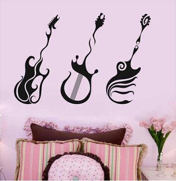E3 silkyroom 特大サイズ【エレキギター】3点セット転写式  はがせる壁紙 貼ってはがせる壁紙 ウオール 壁 壁紙 壁シール カッティングシート 窓 ウォールシール カッティングシール 転写ステッカー 転写シール 文字壁紙 壁シール カッコいい ギター 音楽