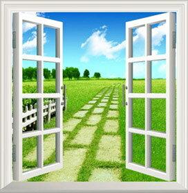 オーダーメイド 【窓 ウィンドーシリーズ防水[横長]】 95cm x 100cm ウォール ステッカー ポスター シール 裏が透けない 自然 はがせる 壁紙 壁シール |お風呂 風景 はがせる壁紙 壁