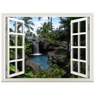 オーダーメイド 【窓 ウィンドーシリーズ防水・(横長)】ウォール ステッカー ポスター シール 裏が透けない 自然 はがせる 壁紙 壁シール |お風呂 風景 はがせる壁紙 壁|ウォールステッカー 風景 海 トリックアート 防水
