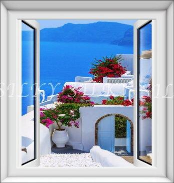 オーダーメイド 【窓 ウィンドーシリーズ防水(縦長) ギリシャ】ウォール ステッカー ポスター シール 裏が透けない 自然 はがせる 壁紙 壁シール 防水 海 ギリシャ 地中海 |お風呂 風景 はがせる壁紙 貼ってはがせる壁紙 壁