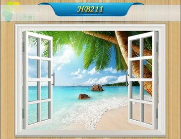 オーダーメイド 【窓 ウィンドーシリーズ防水・(横長)南国のビーチ】ウォール ステッカー ポスター シール 裏が透けないタイプ 自然 はがせる 壁紙 壁シール ハワイ 木 DIY 海 砂浜 パラソル |お風呂 風景 はがせる壁紙 壁