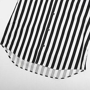 【送料無料】シャツメンズ長袖日本製国産ストライプ柄イタリアンカラー立襟きれいめカジュアルトップスCavariAキャバリア春夏黒白ホワイトブラックベージュサックス2021【あす楽対応】