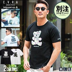C.V.R.A【キャバリア】×Hollywood rich.&【ハリウッドリッチ】別注ベアプリントクルーネック半袖Tシャツ