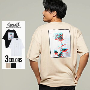 CavariA【キャバリア】バック薔薇フォトプリントクルーネック半袖Tシャツ