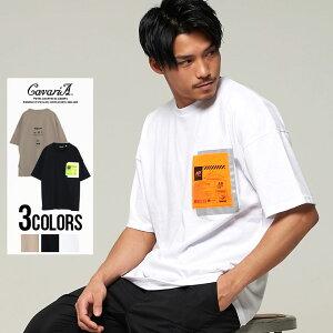 CavariA【キャバリア】USAコットンリフレクトポケットクルーネック半袖Tシャツ
