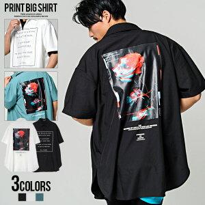 CavariA【キャバリア】バラプリント貼付けレギュラーカラー半袖ビッグシャツ