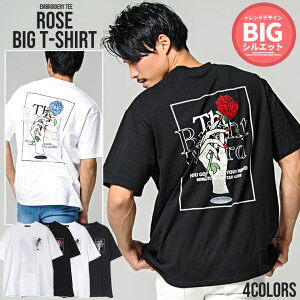CavariA【キャバリア】バラ刺繍クルーネック半袖ビッグTシャツ
