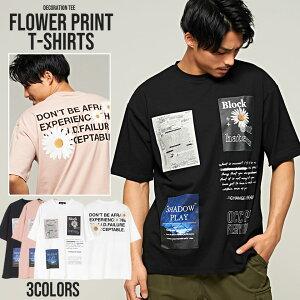 CavariA【キャバリア】フラワーデコレーションプリントクルーネック半袖Tシャツ