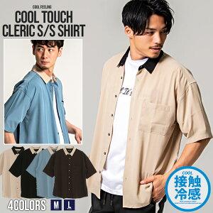 CavariA【キャバリア】配色切り替え接触冷感レギュラーカラー半袖クレリックシャツ