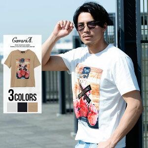 CavariA【キャバリア】ガールズフォト×樹脂エンボスプリントクルーネック半袖Tシャツ