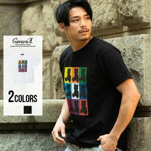CavariA【キャバリア】グラフィックベアプリントクルーネック半袖Tシャツ