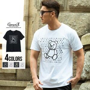 CavariA【キャバリア】モノグラムベアプリントクルーネック半袖Tシャツ