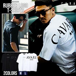 C.V.R.A立体ラバーロゴ×バックロゴプリントクルーネック半袖ビッグTシャツ