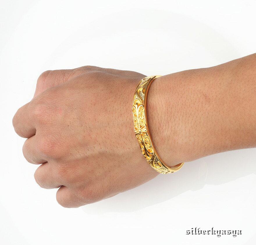 22金仕上げ ゴールド クロスバングル ブレスレット フローラルバングル 22k gp メンズ ステンレスバングル ゴールド 金