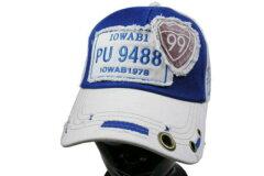 メッシュ99白青野球帽男女兼用サイズフリー