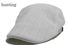 サイドベルトガーゼハンチング/カジュアルで被りやすいハンチングフリーサイズ鳥打帽アウトドアゴルフスポーツウォーキング白