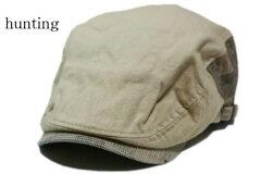 サイドチェックコットンハンチング/カジュアルで被りやすいハンチングフリーサイズ鳥打帽アウトドアゴルフスポーツウォーキングベージュ