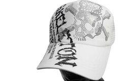 メッシュキャップラインストーンスカル白野球帽男女兼用サイズフリードクロ
