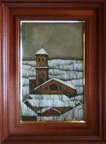 【福井良之助】「丘の教会」洋画(油彩・キャンバス)10号額装美術絵画【楽天・書画肆しみづ】