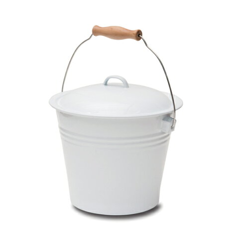 バケツ ホワイト ホーロー 直径24 H32(23)cm | ダストボックス ゴミ箱 ごみばこ ごみ箱 シンプル ガーデン 白 おしゃれ 北欧 新生活 インテリア DIY ディスプレイ インテリア雑貨 園芸 蓋 ふた 雑貨