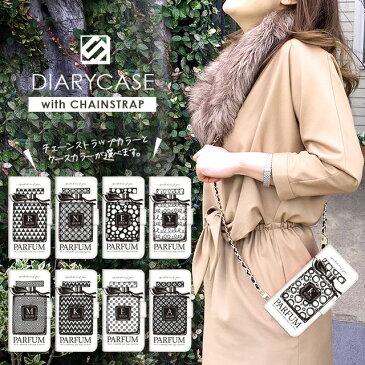 斜めがけ スマホ ポシェット スマホケース 手帳型 全機種対応 チェーン付き 携帯ケース ショルダー タイプ iPhone12 mini iPhone11 Pro ケース iPhone XR SE 第2世代 Xperia 1 10 5 ii 8 AQUOS sense5G R5G sense4 Galaxy A42 A41 5G OPPO Reno3 A 香水 イニシャル