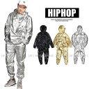 ウィンドブレーカー メタル 光沢 ジャージ 上下 メンズ レディース HIPHOP ヒップホップダンス衣装 トップス ズボン K-POP 韓国