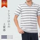 大人の上品なボーダーVネックTシャツ 春 夏 半袖 メンズ M L 30代 40代 50代 ホワイト...