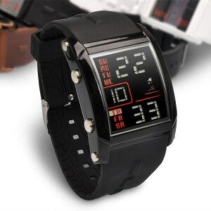 送料無料 あす楽 メンズ腕時計 楽天上半期ランキング入賞 流線形がカッコいい話題の近未来型 レ...