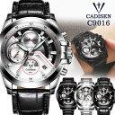 CADISEN メンズ腕時計 クロノグラフ 3ダイヤル ラグジュアリー c9016 腕時計 ブランド...