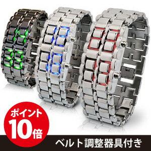 LEDが光るブレスレット型の近未来 メンズ腕時計 レディース腕時計!