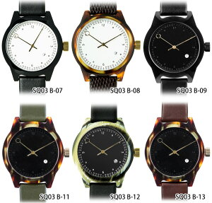 squarestreetMINUTEMANSQ03腕時計TWOHANDBシリーズレザーベルトメンズレディースユニセックスMen