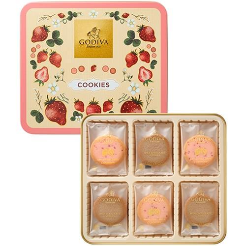 込み(北海道沖縄不可) ゴディバあまおう苺クッキーアソートメント18枚入<2200> あまおう苺風味のホワイトチョコレートをス