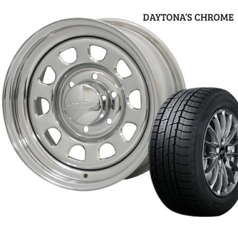 ウィンターマックス02 185/65R15 185 65 15 ダンロップ スタッドレスタイヤ ホイールセット 1本 15インチ 6H139.7 6.5J+40 デイトナ クローム モリタ DAYTONA'S CHROME