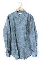 ●伊製!Loro Piana(ロロピアーナ):リネン100% 長袖シャツ/ネイビーL メンズ 【ベクトル 古着...