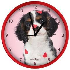 キャバリア 子犬 犬 掛け時計 直径25cm ウォールクロック Wall Clock[Sirius]