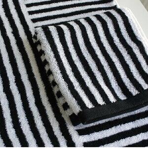 【白黒】ストライプハンドタオル