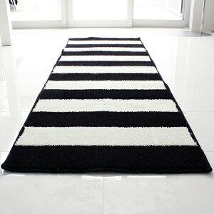 【白黒】ストライプキッチンマット180cm