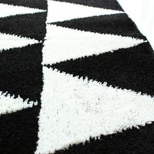 【白黒】トライアングルキッチンマット90cm