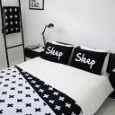 【白黒】SLEEP パイルピローカバー