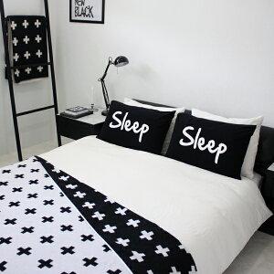 【白黒】SLEEPパイルピローカバー
