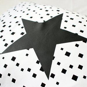 【白黒】星柄&スクエアドットピローカバー