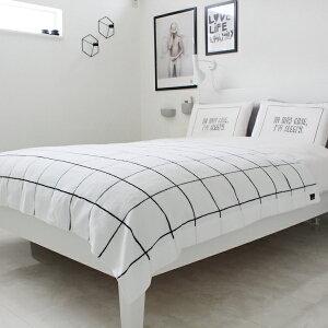 【白黒】グラフチェック柄モノトーンタオルケット