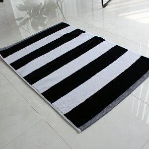 【白黒】ストライプモノトーンバスマット