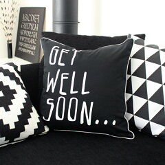 【BLACK&WHITE GET WELL SOON... CUSHION COVER】北欧 インテリア雑貨 モノトーン モノクロ 白...