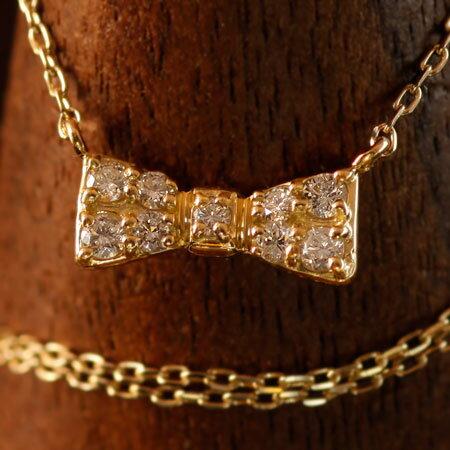 バレンタイン K10 K18 リボン ダイヤモンドネックレス ネックレス 送料無料   ジュエリー システィーナ リリコ 大人 女性 地金 シンプル 天然石 結婚 結婚式 ウェディング プレゼント 贈り物 あす楽