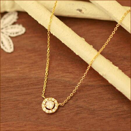 K18 ダイヤモンドヘイローネックレス 0.2ct【あす楽】:DiamondJewelrySalon システィーナ