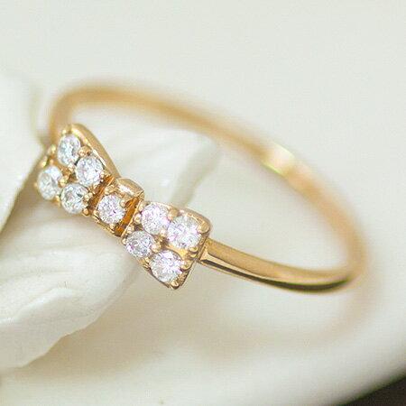 バレンタイン 送料無料 K18 K10 指輪 リング ダイヤモンド リボン 0.15ct パヴェダイヤ 華奢 大人   レディース ジュエリー 贈り物 プレゼント 重ね付け モチーフ 記念日