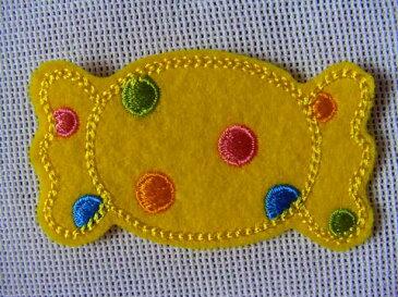 キャンディーワッペン「黄色」【ネコポスOK】【アイロン接着】【入園入学】【アメ玉】【カラフル】