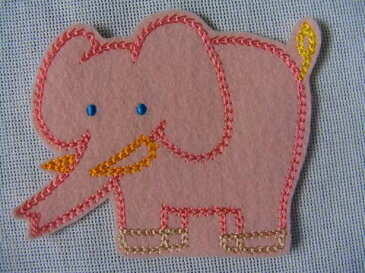 ぞうワッペン「ピンク」【ネコポスOK】【アイロン接着】【新学期】【入園入学】【動物】【子供】