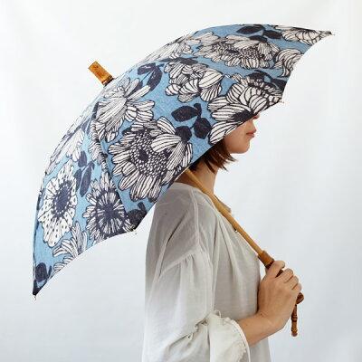 SURMER(シュールメール)リネン日傘(日本製)/花柄プリント(バンブー麻紫外線対策お洒落シュルメールSURMER)